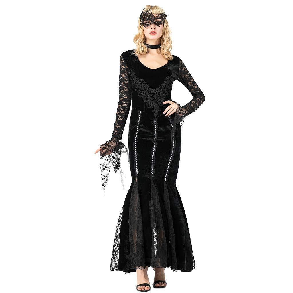 Chirpa Halloween Costume, Fashion Women Halloween Cosplay Sexy Slim Lady Black Bloodsuck Lace Earl Dress by Chirpa