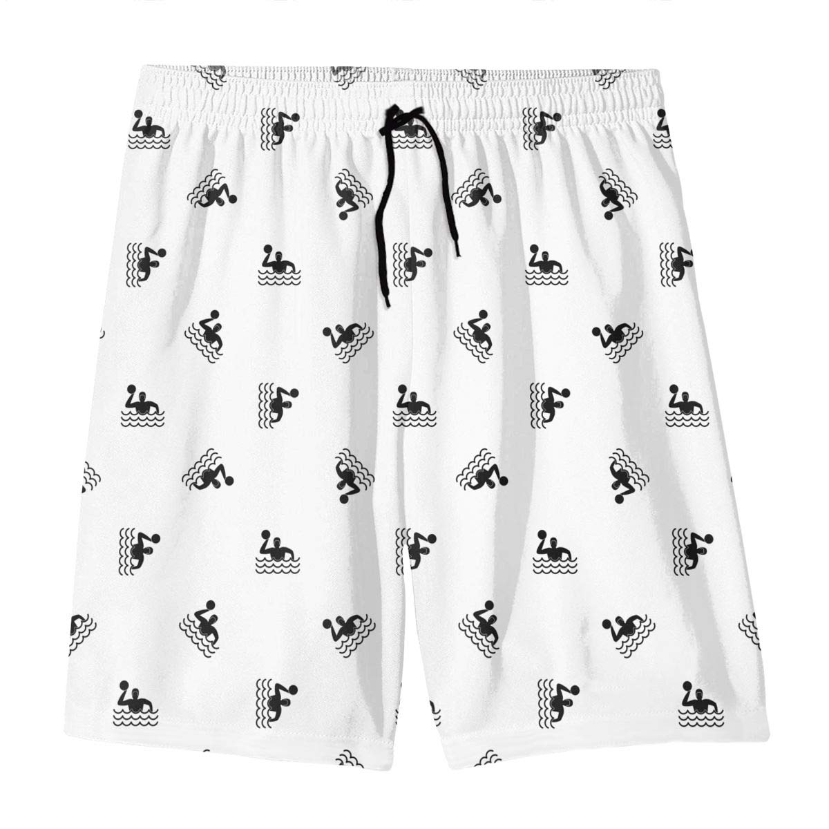 Polyester Water Polo Pattern Beachwear with Pockets GI80@KU Teen Athletic Swim Trunks