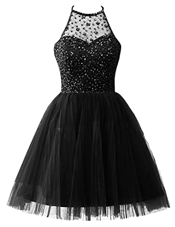 Homecoming Dresses Short Tulle Cocktail Prom Gowns Junior Evening Party  Dress Halter Beads US 2 Black 5861171464b1
