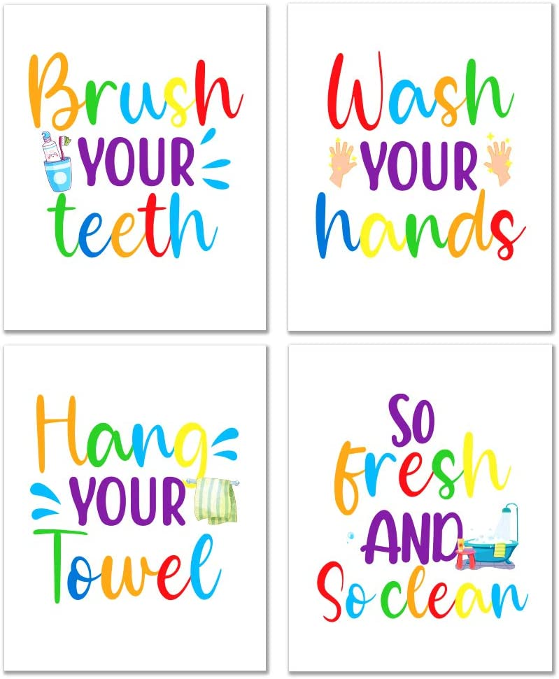 WHATSIGN Funny Bathroom Quote Art Print, Kids Bathroom Decor,Farmhouse Bathroom Decor,Bathroom Rules Typography,Signs & Rules Decorations ,Set of 4, 8