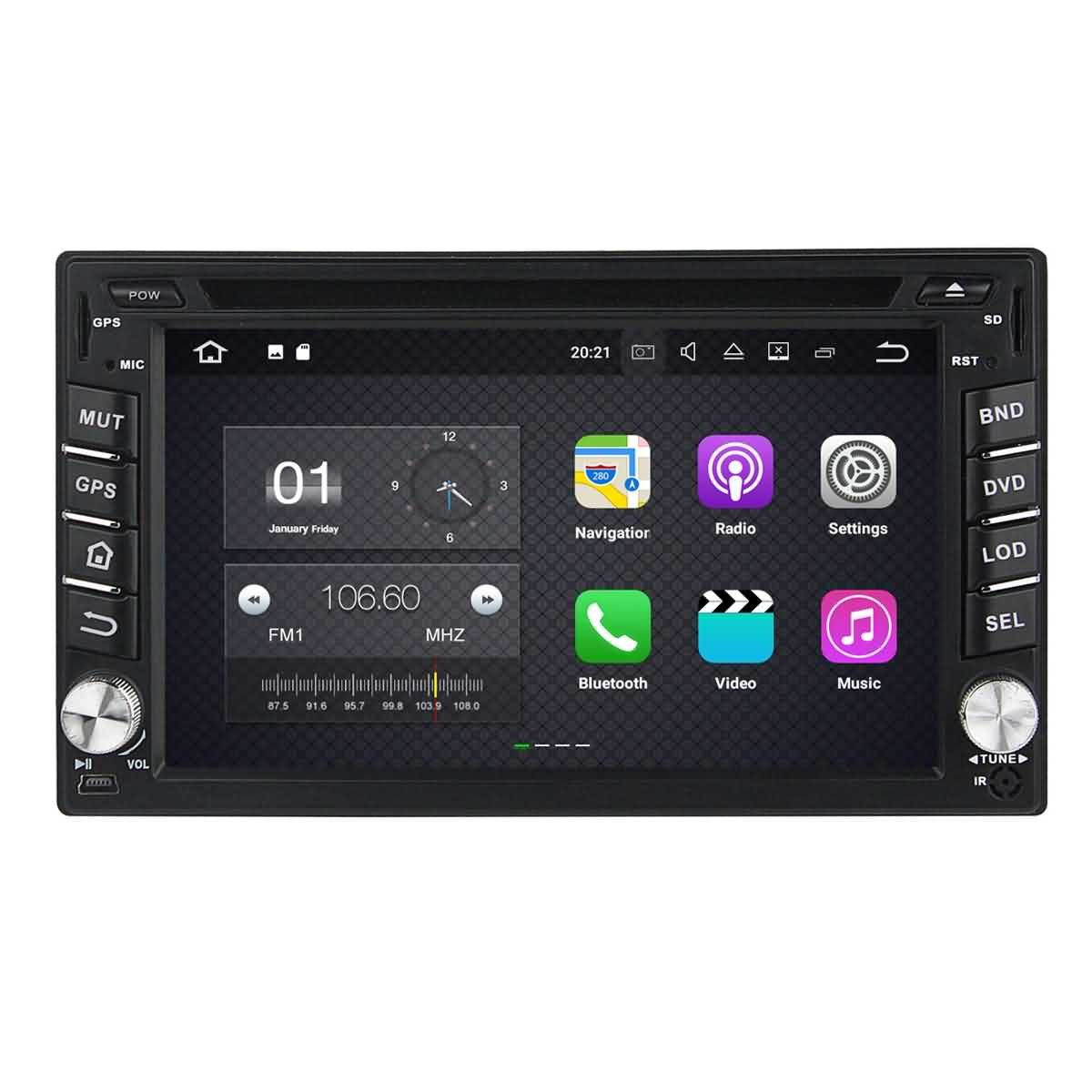 2 Din 6.2 pouces Android 7.1 stéréo de voiture pour Nissan Pathfinder 2005 2006 2007 2008 2009 2010,DAB+ radio 800x480 écran tactile capacitif avec Quad Core Cortex A9 1.6G CPU 16G flash et 2G de RAM DDR3
