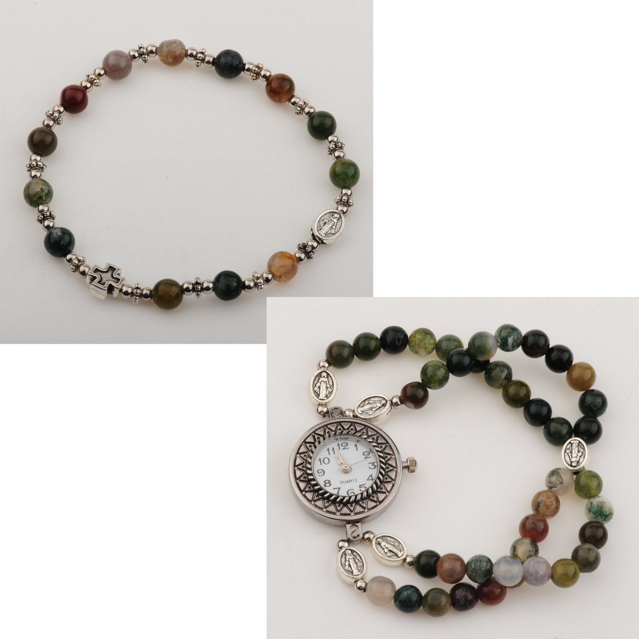 McVan 6mm India Agate Bead Rosary Watch Set, Comes in Box