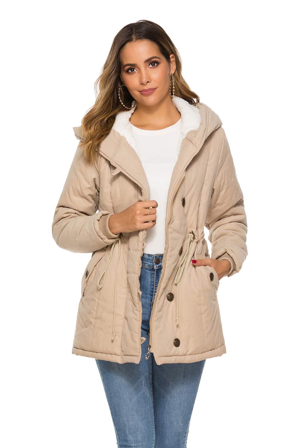 Eleter Women's Winter Warm Coat Hoodie Parkas Overcoat Fleece Outwear Jacket with Drawstring (2X-Large, Khaki) by Eleter