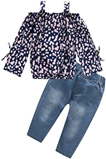 KONFA Long Sleeve Off-Shoulder T-Shirt Blouse+Denim Pants 2Pcs Outfits for Teen Kids Toddler Baby Girls Cotton Spring Clothes