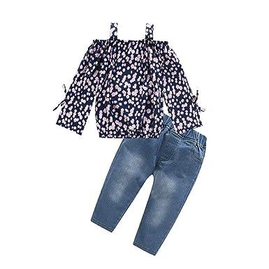 Ropa Bebé Niñas 2PC Floral Remeras de la Camiseta + Pantalones Vaqueros de Mezclilla para Bebés Niños 2-7años Holatee: Amazon.es: Ropa y accesorios