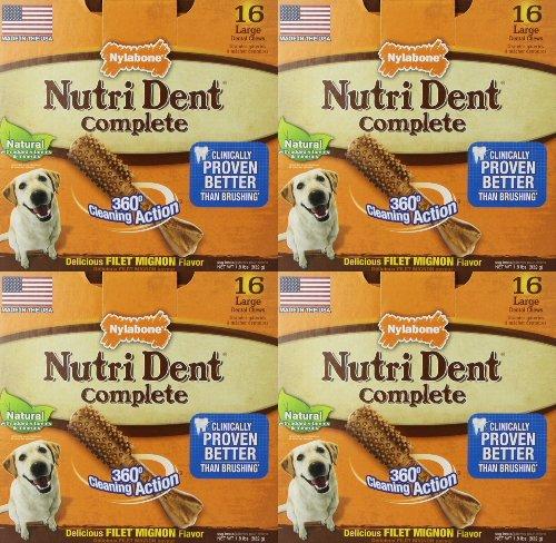 Nylabone Nutri Dent Complete Filet Mignon, Large 64pk (4x...