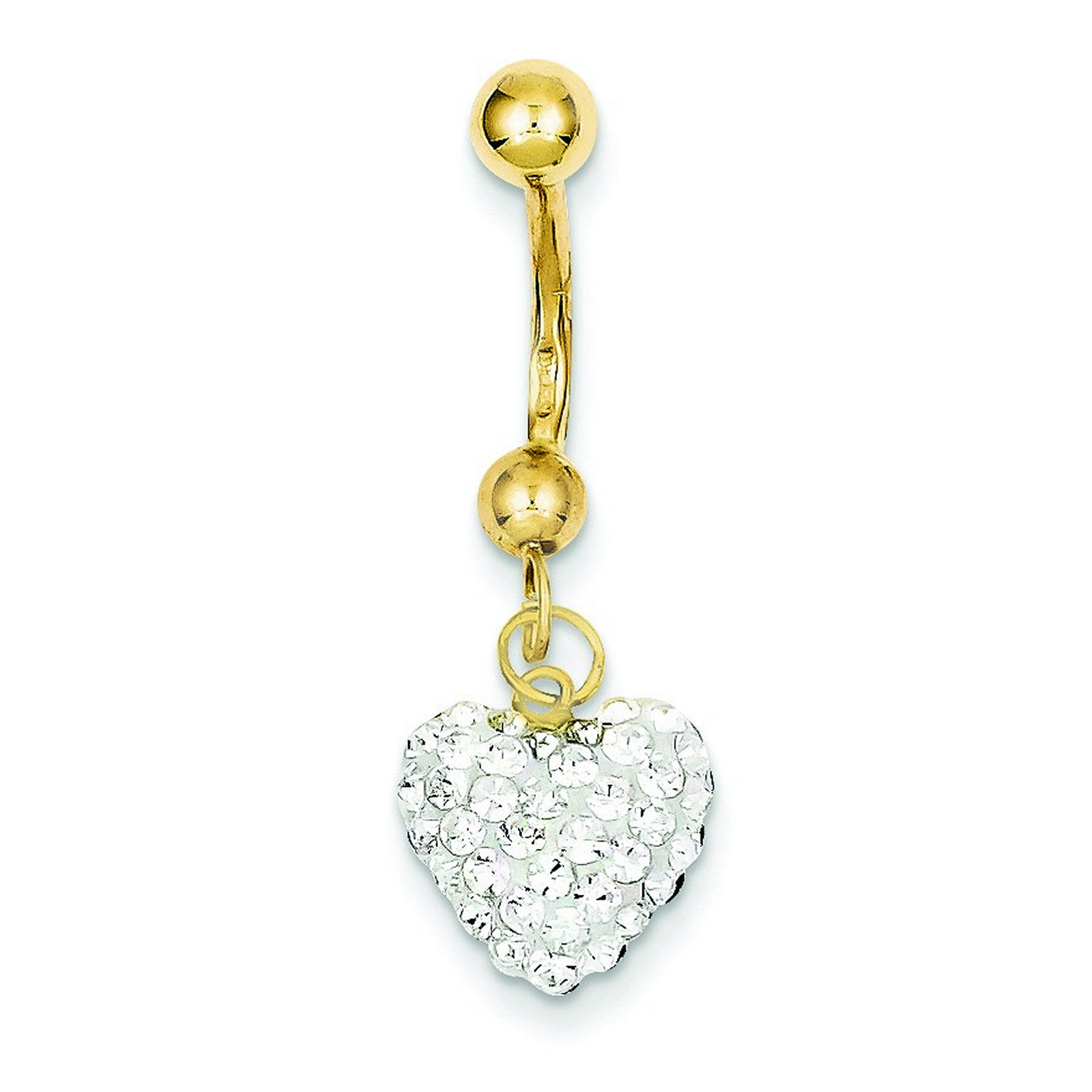 10k Yellow Gold With Dangle White Crystal Heart Belly Ring Dangle