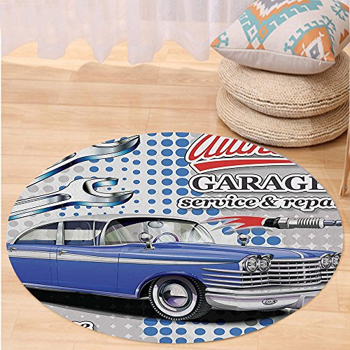 Kisscase Custom carpetVintage Decor Aged 60s Auto with Garage Service Repair Calligraphy on Dotted Background for Bedroom Living Room Dorm Grey Blue
