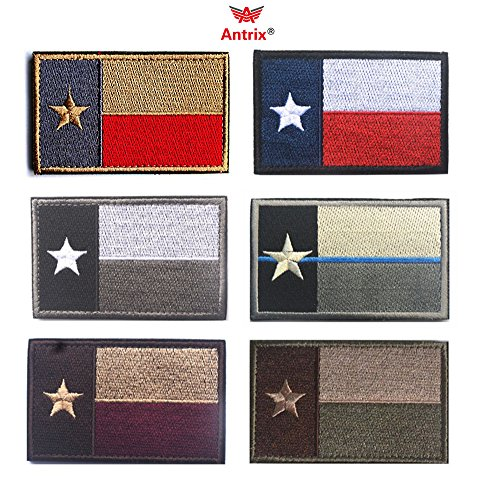 Antrix Bundle 6 Pieces Tactical US Texas State Flag Patch Hook & Loop Embroidered Military American Texas Morale Badge Patch Tags Appliques -3.15