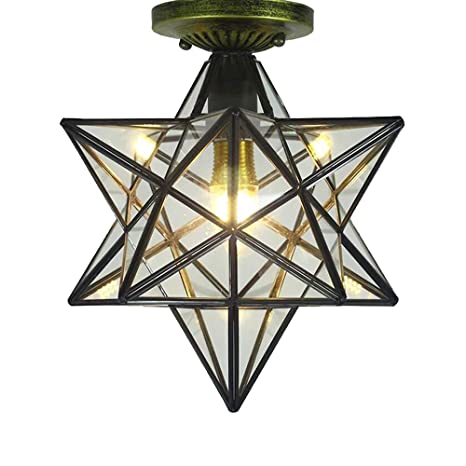 Clear Glass Star Flush Mount Moravian 12 Star Ceiling Light Shade With E26 Bulb Close To Ceiling Light Fixtures For Indoor Restaurant Cafe Loft Bar