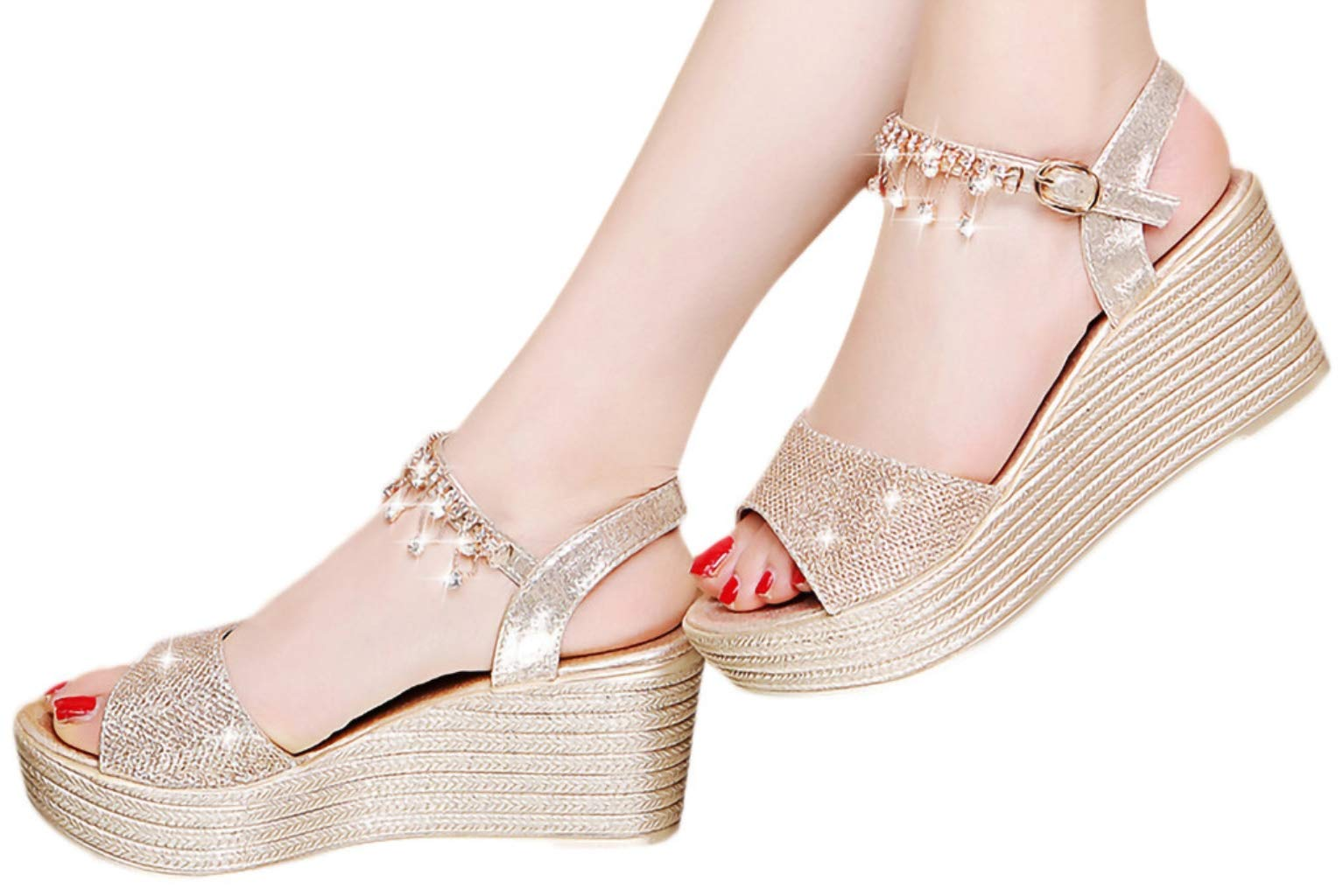 Hemlock Women Fashion Sequin Wedge Sandals Pear Belt Buckle Sandals Thick Platform Sandals Party Princess Sandals Shoes Gold