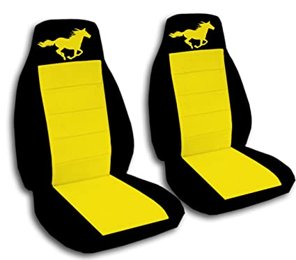 Sensational Running Horse Seat Covers For A 1994 To 2004 Ford Mustang Will Fit A Gt Coupe And Convertible 23 Color Combinations To Choose From Black Yellow Beatyapartments Chair Design Images Beatyapartmentscom