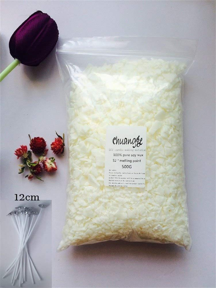 Gano Zen Candle Making 100% Pure Soy Wax Ivory White Slice Aromatherapy Candle Making Supplies Wax Flake DIY Handmade Scents Pillar Candle 500g and 10pcs Wicks