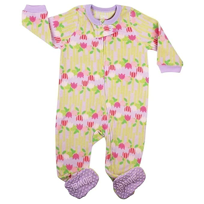 Elowel - Pijama para Bebe Nina Polar, con Diseno De Flores 6-12 Meses