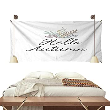 BlountDecor Pattern Tapestry Hello Autumn Handwritten Text Greeting Card Postcard Poster Banner Template With