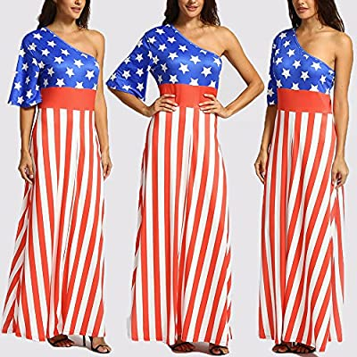 Women Sleeveless Halter Flag Print Crop Tops Tight Skirt Outfit Set Suit