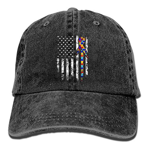 REBELN Autism Awareness American Flag Adjustable Cowboy Style Baseball Cap Hat for Unisex Adult