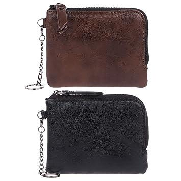 Monedero de piel para mujer y hombre, pequeño bolso suave ...