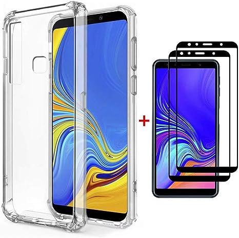 FHXD Compatible con Funda Huawei Honor 7A/Y6 2018 Transparente TPU Silicona Cubierta Cover Protectora [2*Película de Vidrio Templado] Suave Anticaída de Cojín de Aire Case Protectora: Amazon.es: Electrónica