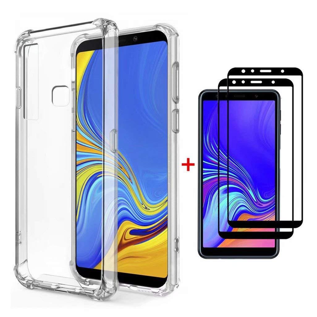 FHXD Compatible con Funda Xiaomi Mi 9 Transparente TPU Silicona Cubierta Cover Protectora [2*Película de Vidrio Templado] Suave Anticaída de Cojín de ...