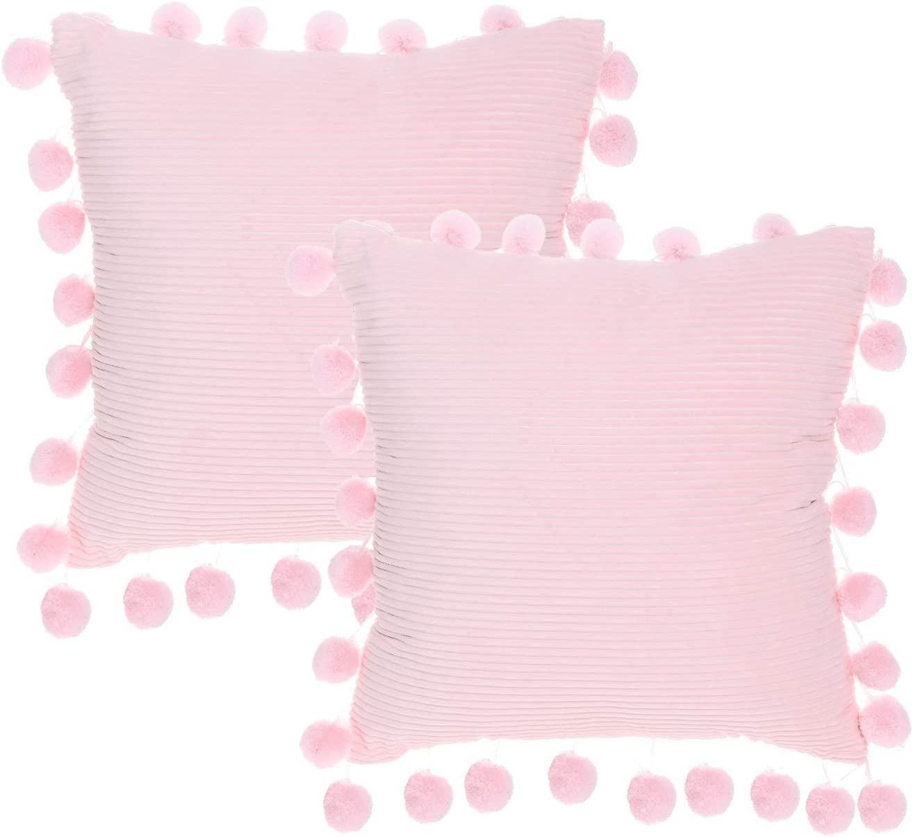NSSONBEN Pink Pom Pom Pillow Covers   Soft Velvet Decorative Cushion Cases  for Couch Home 112 x 112 Inch Set of 12 Pink