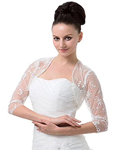 Meibida Women's 3/4 Sleeves Lace Bridal Gown Bolero Jacket