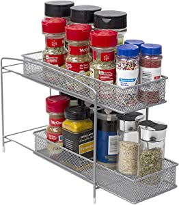 Home Basics 2 Tier Mesh Steel Helper Shelf Spice & Condiments Rack with Removable Sliding Baskets, Ideal for Cabinet Kitchen Countertop Pantry, Silver