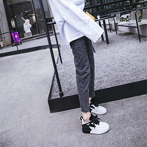 Size in Laces Scarpe 40 ginnastica da Platform Running vera pelle Sport Laces 35 Scarpe donna Black da To Sneakers w1qAT6X