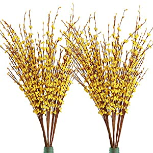 Furnily 20 Pcs Artificial Flowers 29.5″ Long Winter Jasmine Fake Flowers for Decoration Artificial Plants (Yellow)