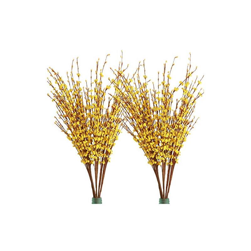 "silk flower arrangements furnily 20 pcs artificial flowers 29.5"" long winter jasmine fake flowers for decoration artificial plants (yellow)"
