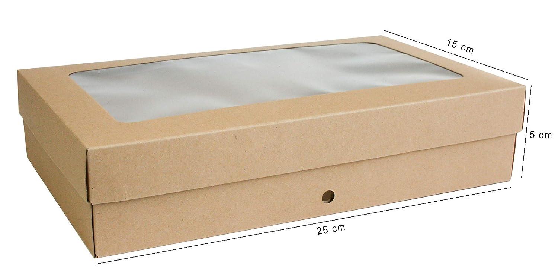 Caja Kraft Marr/ón Con Tapa Transparente y Cinta de Raso Emartbuy Paquete de 36 Caja de Regalo de Presentaci/ón en Forma de Rect/ángulo 27 cm x 16 cm x 6 cm