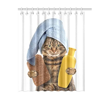 Funny The Cat Ready To Bath Shower Curtain Waterproof Polyester Peva For Bathroom Cute Decor 60x72
