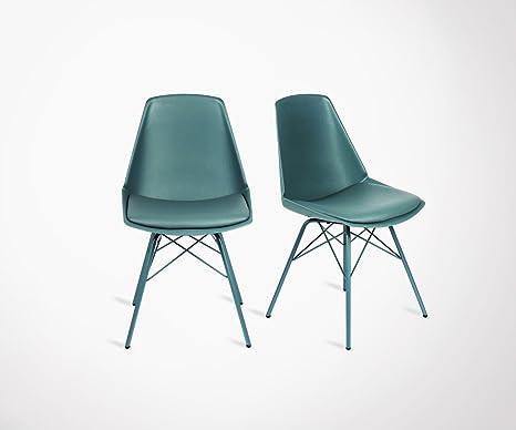 2 Sedie design anji piedi in metallo - colore - verde timo: Amazon ...