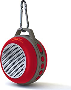 iFox IFS303 Ultra Portable Wireless Bluetooth Speaker with Clip for iPhone iPad iPod Android or PC with FM Radio, AUX, SD and Speakerphone, Outdoor and Indoor (Red)