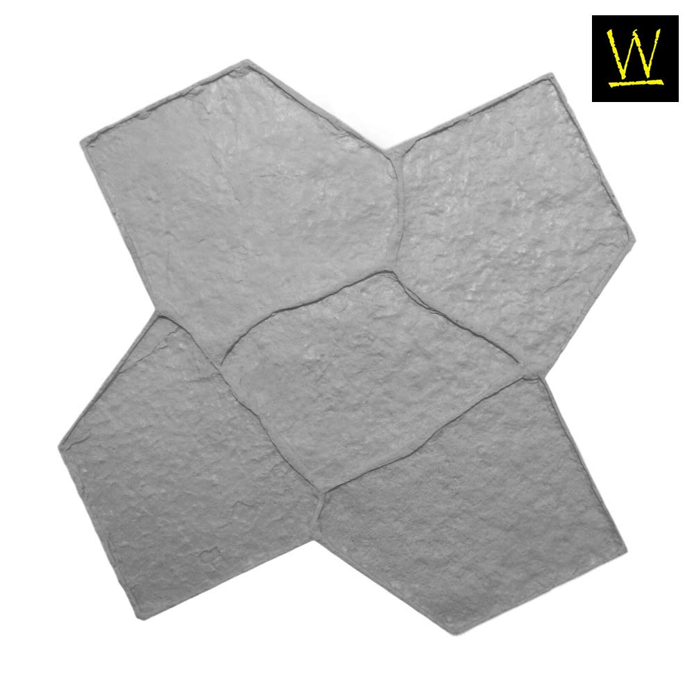 Wisconsin Flagstone Concrete Stamp Single by Walttools | Decorative Random Stone Tile, Rotational Pattern, Sturdy Polyurethane Flexible Texturing Mat, Realistic Detail (Floppy/Flex)