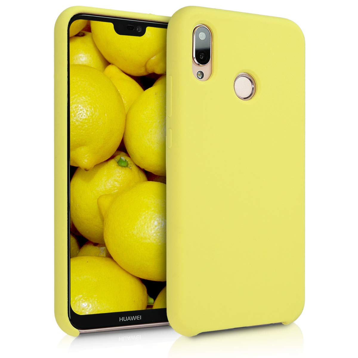 kwmobile TPU Silicone Case for Huawei P20 Lite - Soft Flexible Rubber Protective Cover - Pastel Yellow