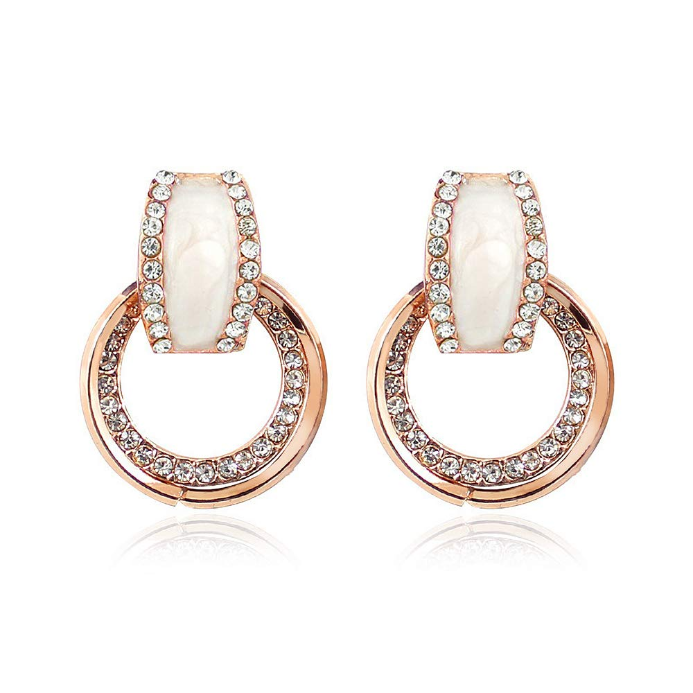 Rose Gold Simulated Diamond Stud Earrings for Women Girls with Sterling Silver Earrings Pin, Statement Hypoallergenic Earrings with Small Hoops