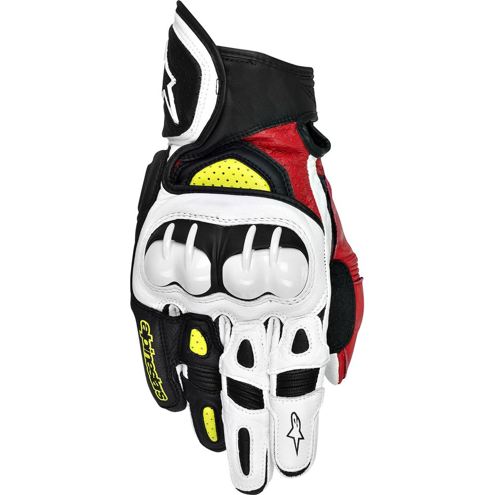 Alpinestars GPX Men's Leather Street Bike Motorcycle Gloves - Black/Red/Yellow / 2X-Large