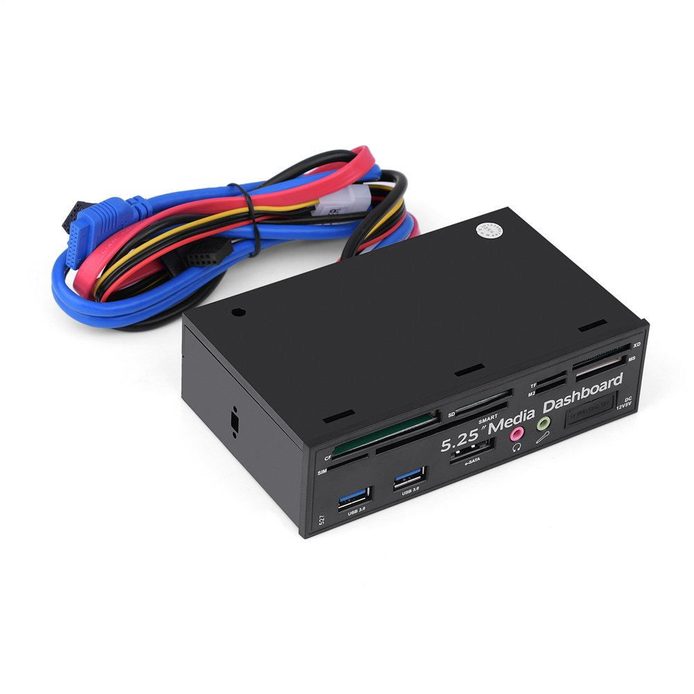 fosa 5.25 Inch PC Dashboard Front Panel, with e-SATA Dual USB 3.0 Audio Port Microphone Port 4 pin Power Port and M2/TF/SD/XD/MS/CF Card Reader, Support SIM/Smart for Windows/Linux/MAC OS by fosa