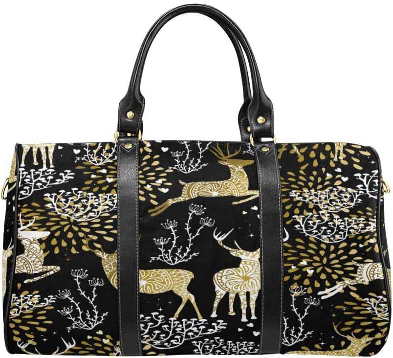 InterestPrint Carry-on Garment Bag Travel Bag Duffel Bag Weekend Bag Fancy Gold Deer