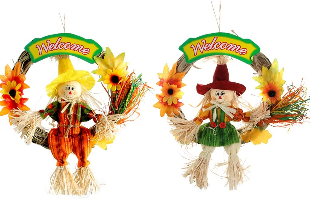 IFOYO Scarecrow Wreath Indoor Wall, Front Door S, 10.6x10.6in // 27x27cm 2 Pack Hanging Scarecrows for Happy Halloween Decorations Thanksgiving Decor Autumn Fall Harvest Decoration for Home