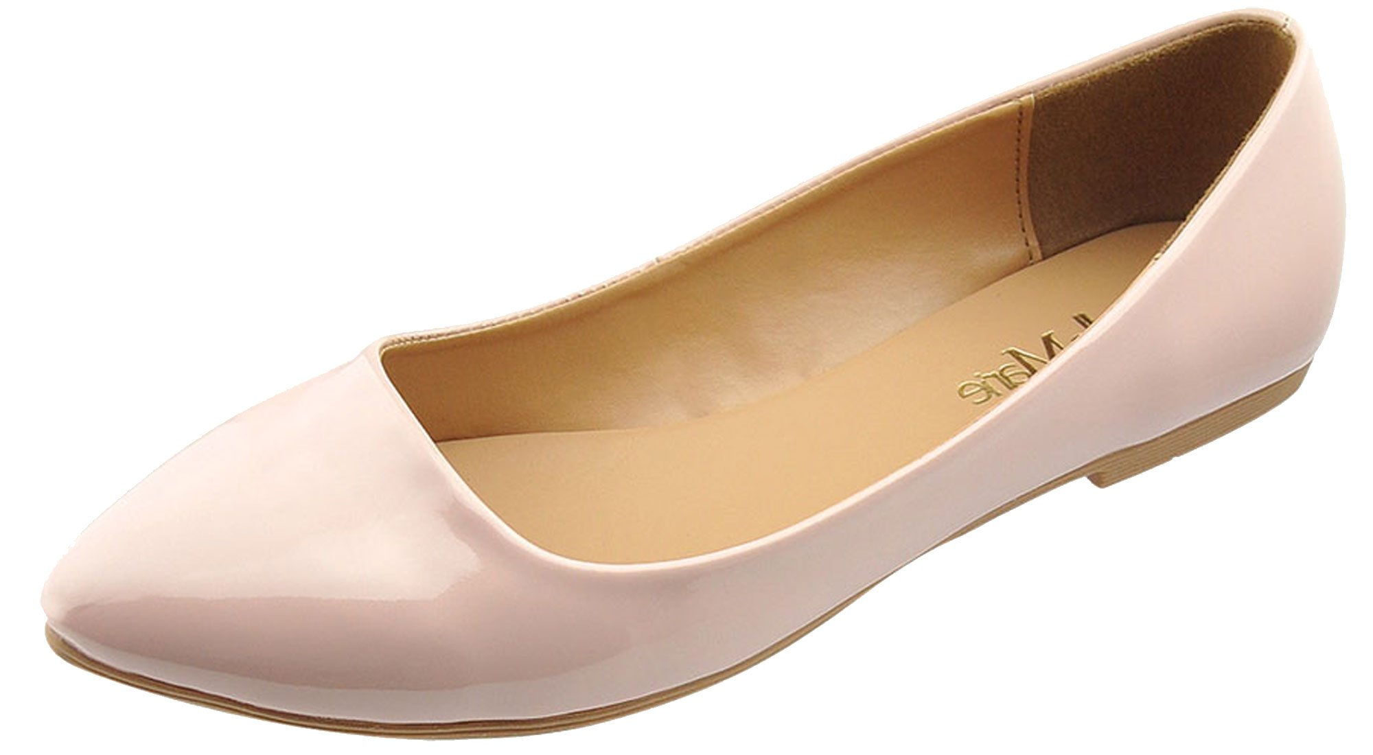 Bella Marie Womens Pointy Toe Slip On Classic Ballet Flat Flats-Shoes,7 B(M) US,Rose Pink