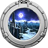 "12"" Porthole Outer Space Ship Window View ALIEN PLANET #1 CHROME Wall Graphic Kids Sticker Baby Room Decal Home Den Man Cave Art Décor SMALL"