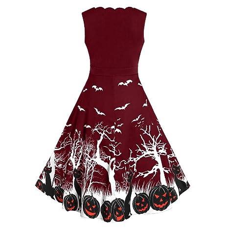 Benbzh Mujer Vestido De Halloween Vestido Sin Mangas con Estampado ...