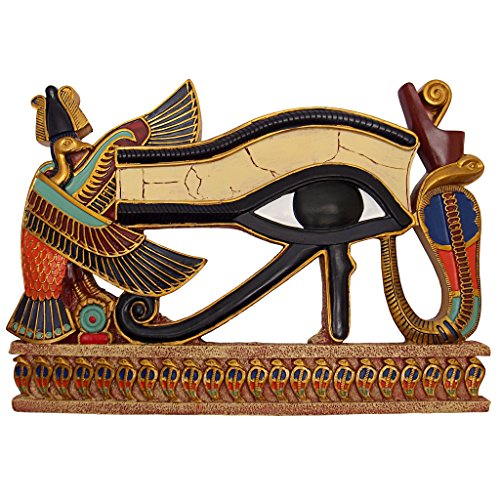 Egyptian Eye Horus - Design Toscano Egypitan Decor Eye of Horus Wall Sculpture Plaque, 12 Inch, Full Color