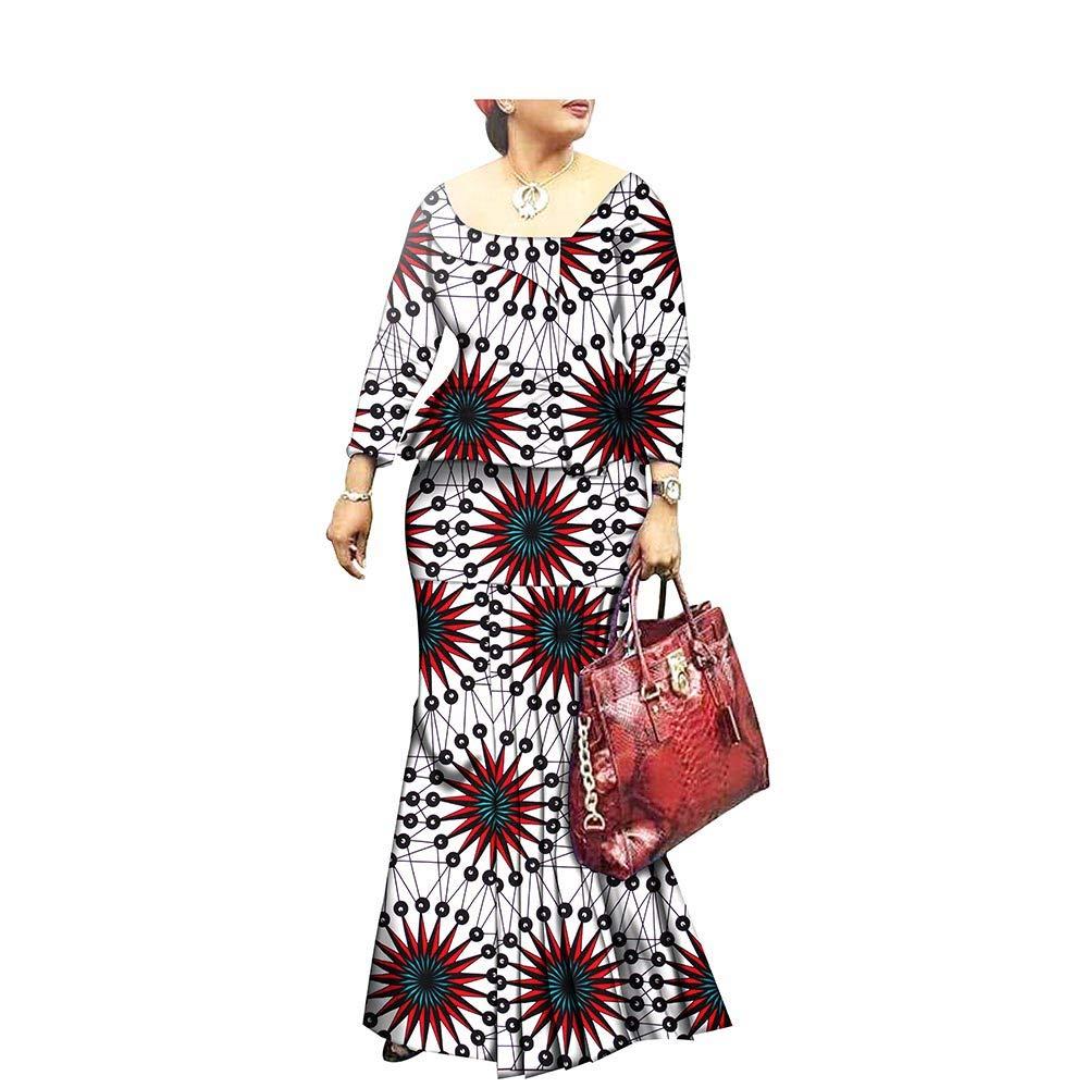 263x African Style 1Piece Long Maxi Dress for Lady Full Sleeve Pure Cotton Ankara Print Dashiki