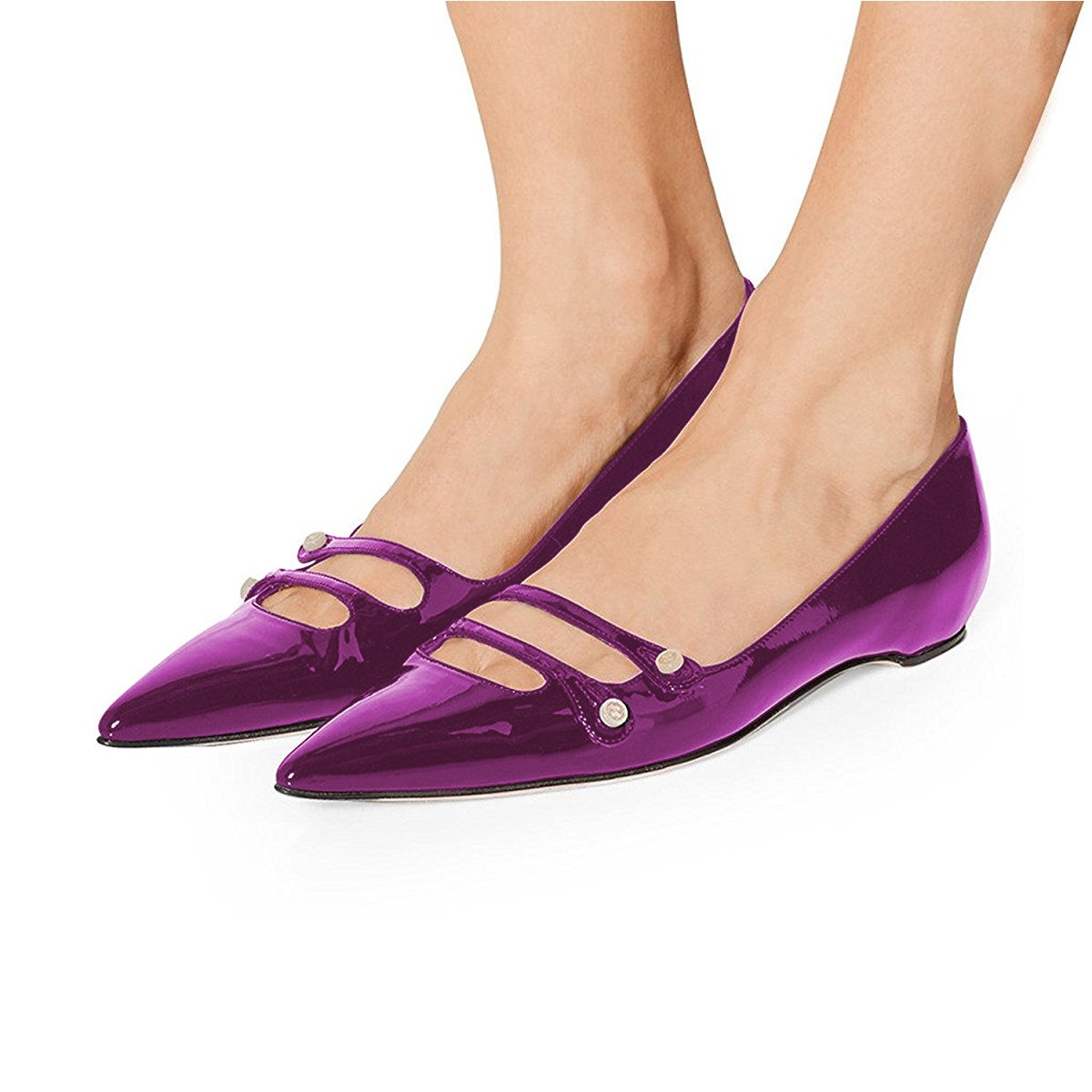 YDN Women Pointed Toe Slip on Flats Hidden Low Heels Pumps Comfort Shoes with Straps B077G6RF7P 15 M US|Purple