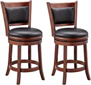 Ball & Cast Jayden Hardwood Counter-Height Swivel Bar Stool with Faux-Leather Upholstery, 24-Inch, Set of 2, Cherry Chocolate