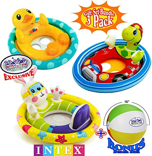 (Matty's Toy Stop See Me Sit Pool Rider Floats Duck, Bunny & Racing Turtle Gift Set Bundle with Bonus 16