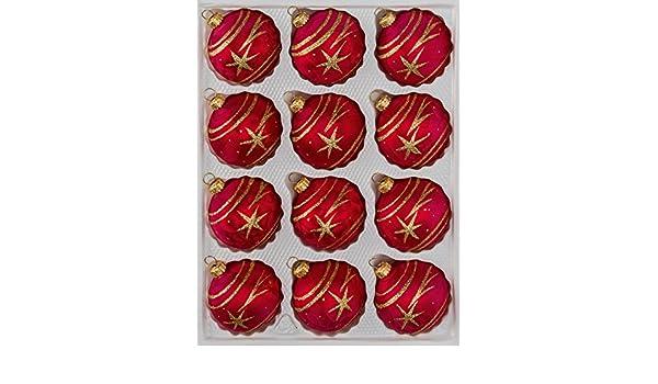 Christbaumkugeln-24.de.de - Juego de 12 Bolas de Navidad (Cristal), Rojo y Dorado: Amazon.es: Hogar